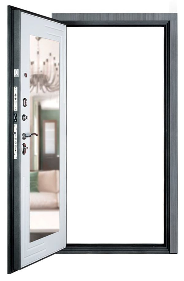 Дверь Гранит С7 комфорт с зеркалом открыта