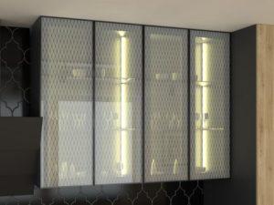 Шкаф для кухни с фасадом из стекла с подсветкой